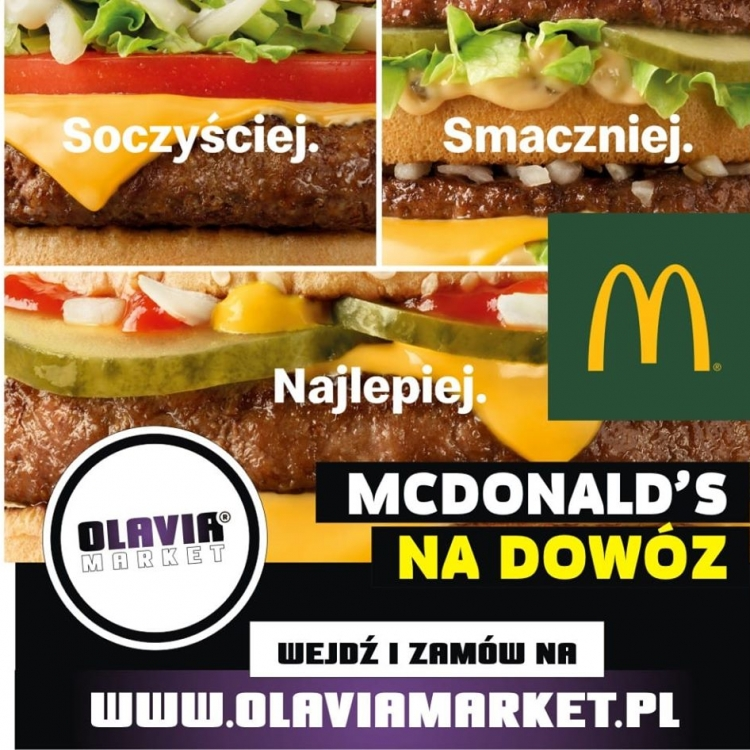 Reklama dowozów naszymi taksówkami z Restauracji McDonald's