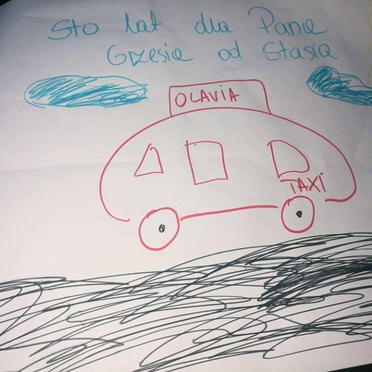 Prezent dla kierowcy Olavia Taxi od najmłodszego klienta